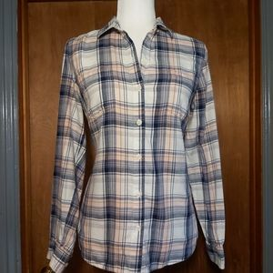 Old Navy Hyper Blue Plaid Flannel Buttoned Shirt